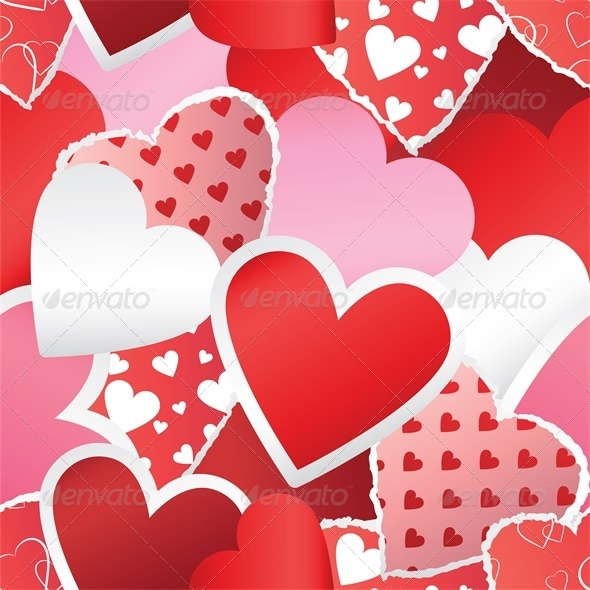 Heart Stickers Background - Valentines Seasons/Holidays