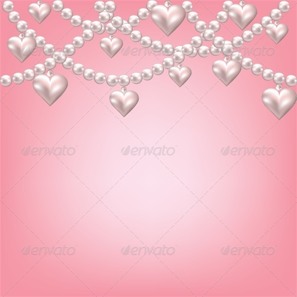 Heart Pearl Necklace Pink Background. - Valentines Seasons/Holidays