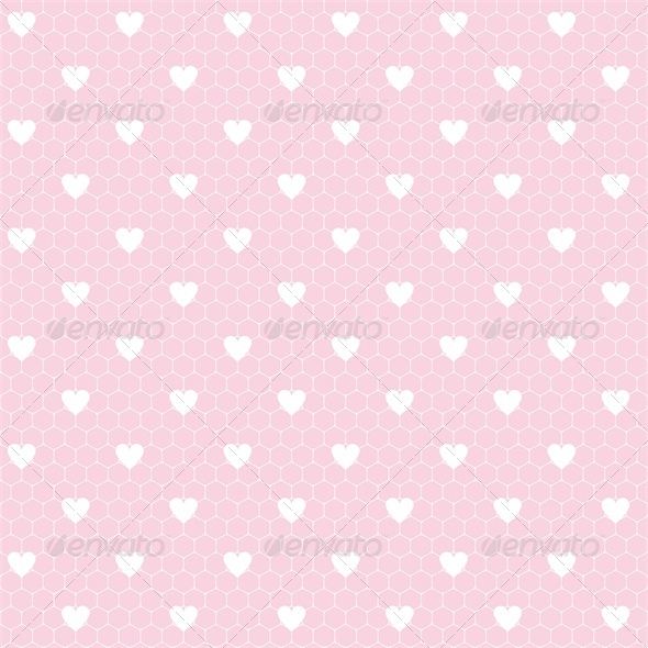 Seamless Lace Pattern with Hearts - Valentines Seasons/Holidays