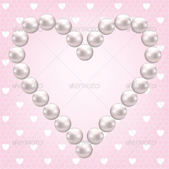 Net Lace with Heart and Pearl Frame - Valentines Seasons/Holidays