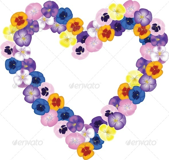 Pansies Flower Bouquet Shaped Heart. - Valentines Seasons/Holidays
