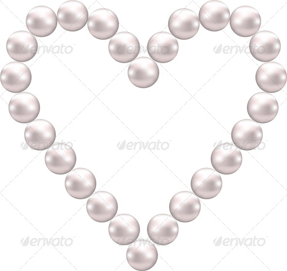 Pink Pearl Shaped Heart - Valentines Seasons/Holidays