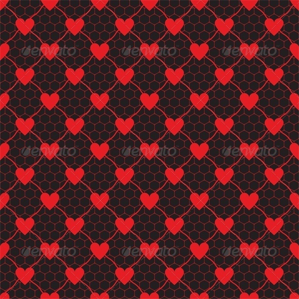 Lace Red Pattern with Heart  - Valentines Seasons/Holidays