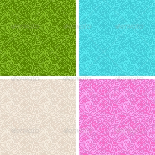Happy Easter Egg Seamless Patterns Set. - Patterns Decorative