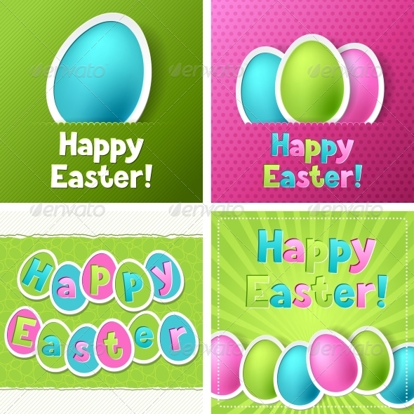 Happy Easter Greeting Cards with Eggs. - Valentines Seasons/Holidays