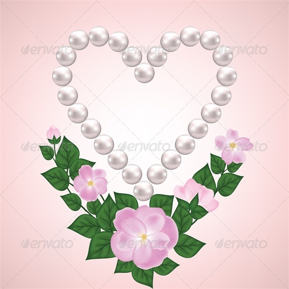 Pearl Heart and Rose Branch - Valentines Seasons/Holidays