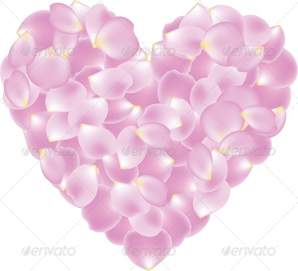 Rose Pink Petal Shaped Heart - Valentines Seasons/Holidays