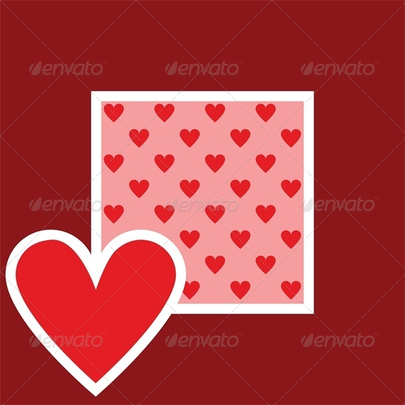 Valentine greeting card with heart pattern - Valentines Seasons/Holidays