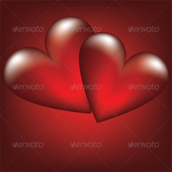 Valentine card with two heart - Valentines Seasons/Holidays