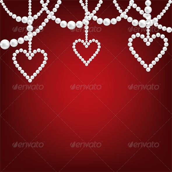 White Pearl Hacklace and Heart - Valentines Seasons/Holidays