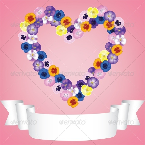 Flower Heart and Ribbon - Valentines Seasons/Holidays