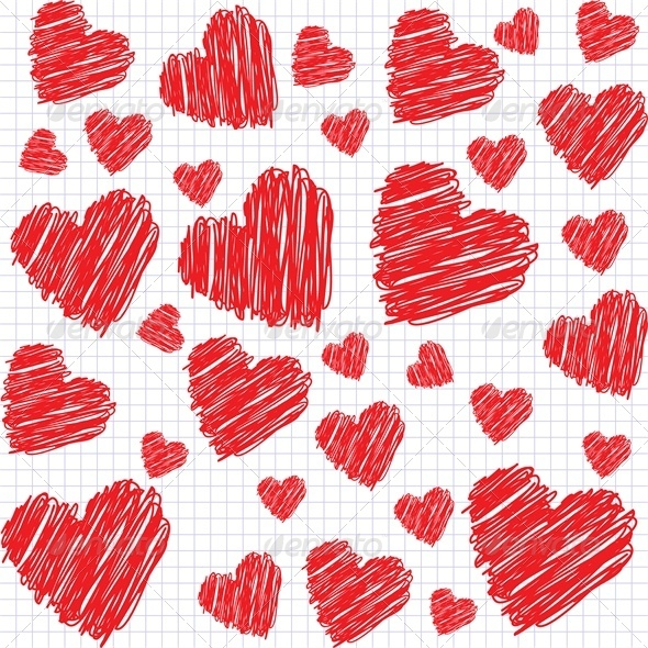 Background with doodle hearts - Valentines Seasons/Holidays