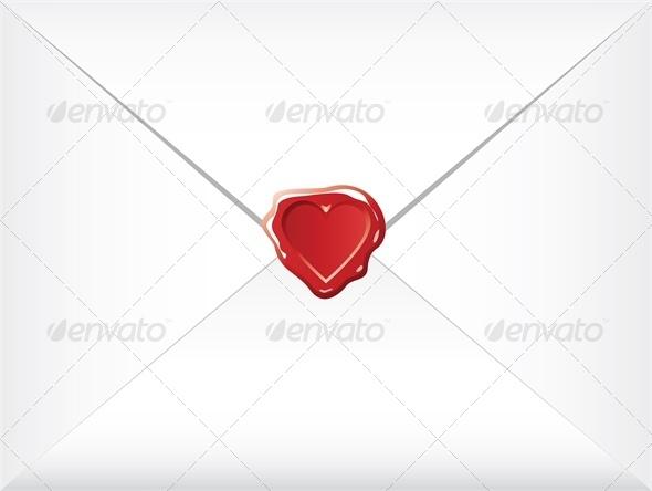 wax shaped heart sealed envelopes - Valentines Seasons/Holidays