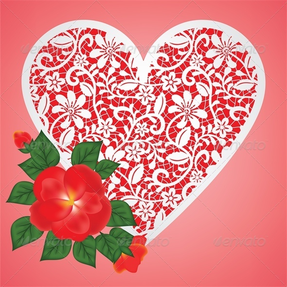 Valentine Card with Rose and Lace Heart - Valentines Seasons/Holidays
