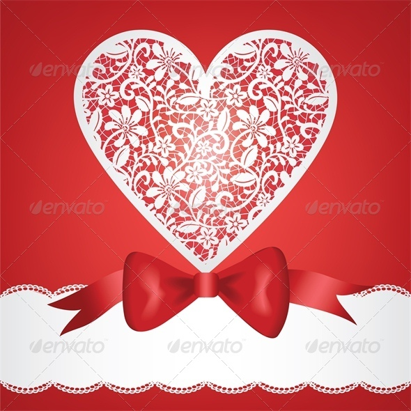 bow and lace heart - Valentines Seasons/Holidays