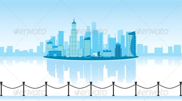 Vector Illustration of a City with Reflection - Buildings Objects