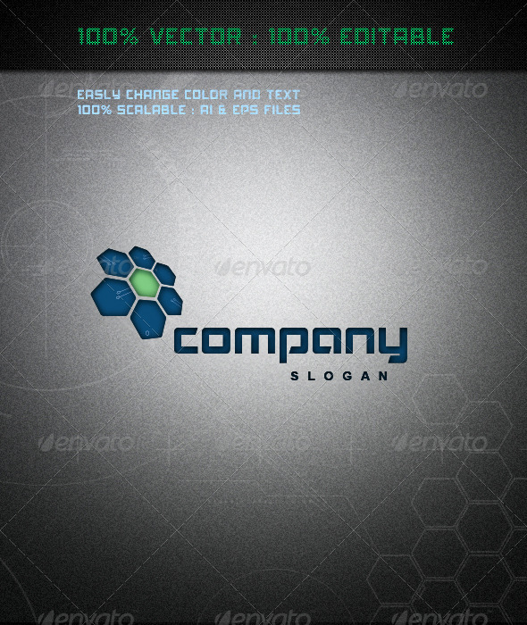 Hi-Tech Blue Flower Logo - Logo Templates