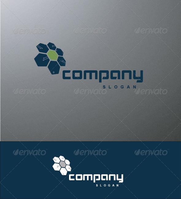 Hi-Tech Blue Flower Logo