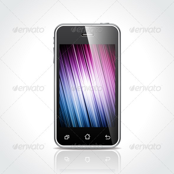 Shiny Touch Screen Mobile Phone Devices - Communications Technology