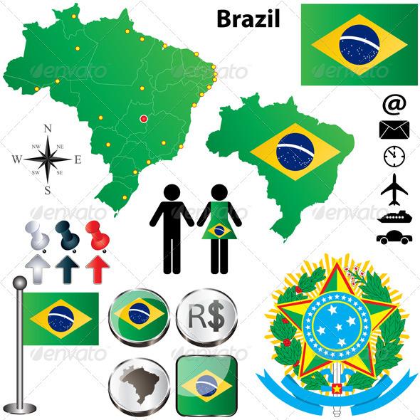 Brazil Map - Travel Conceptual