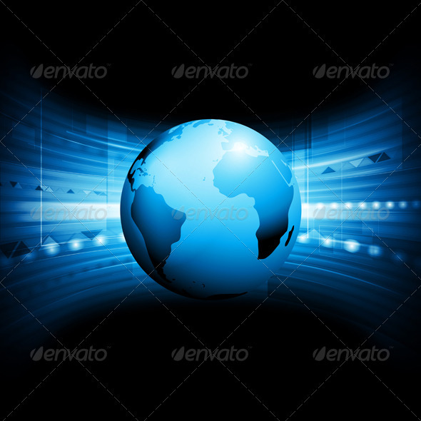 Vector Technology Background with Globe - Backgrounds Decorative