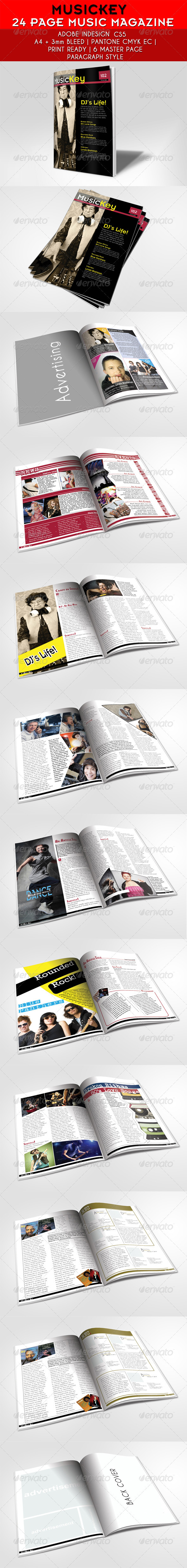 24 Pages Musickey Music Magazine Template - Magazines Print Templates