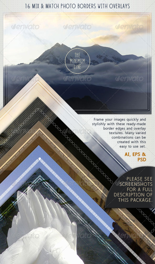 Photo Borders & Overlays Set; Minimal Style - Borders Decorative