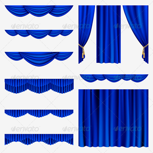 Blue Curtains - Miscellaneous Vectors