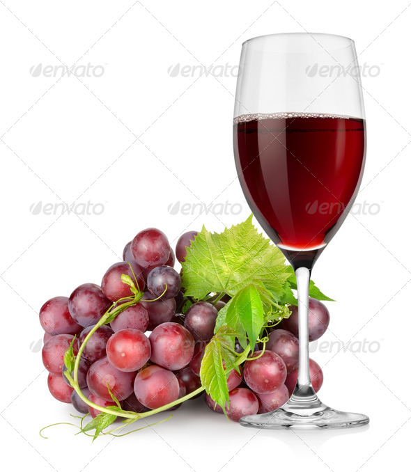 Wineglass and grapes - Stock Photo - Images