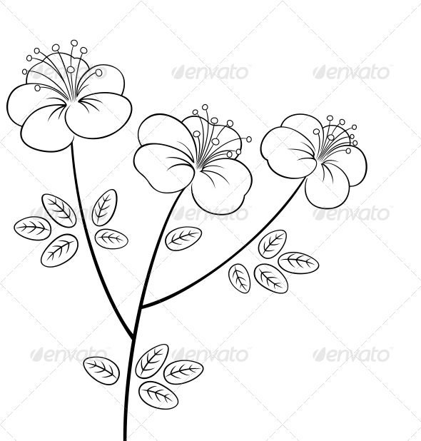 Pretty flower line-art - Flowers & Plants Nature