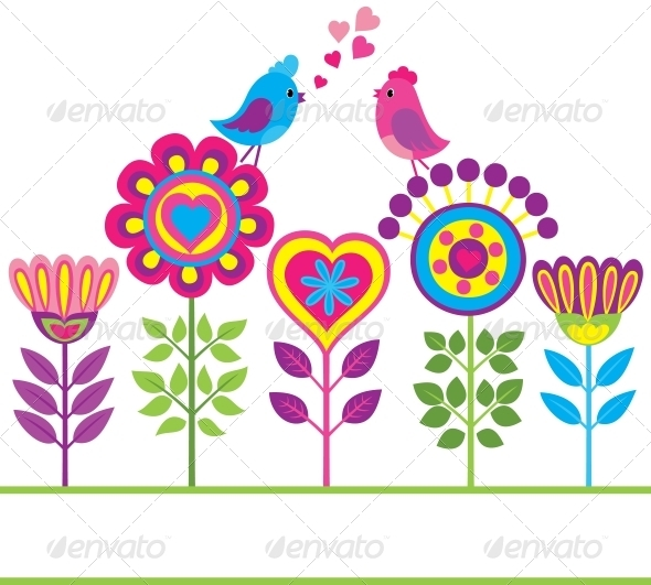 Decorative colorful funny flower background - Animals Characters