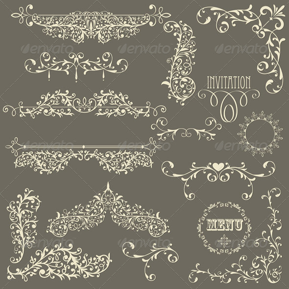 Vector Lacy Vintage Design Elements - Decorative Symbols Decorative