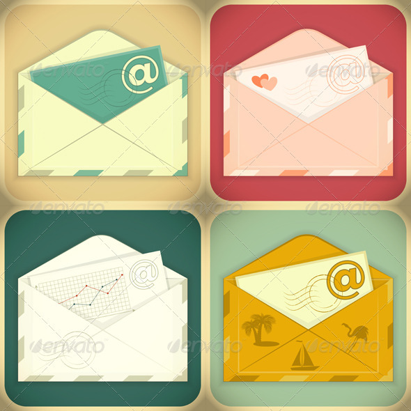 Set of Email Concept - Communications Technology