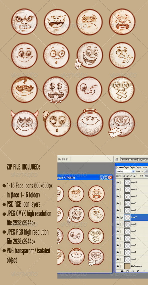 Face Emotions - Emoticons Set - People Characters