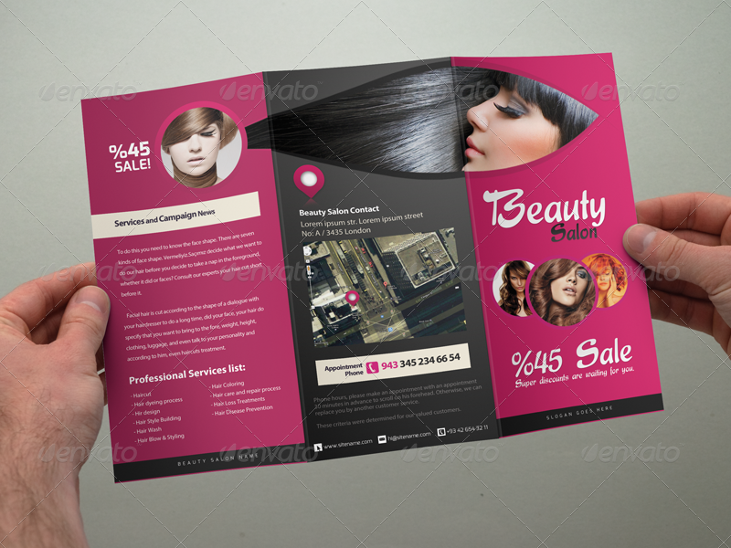 Beauty Salon Tri Fold Brochure By Gokhankara Graphicriver