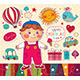 Happy Birthday Card with Boy and Toys - GraphicRiver Item for Sale