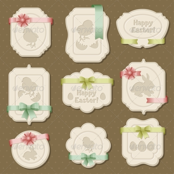 Set of Easter Labels, Tags with Bows and Ribbons - Borders Decorative