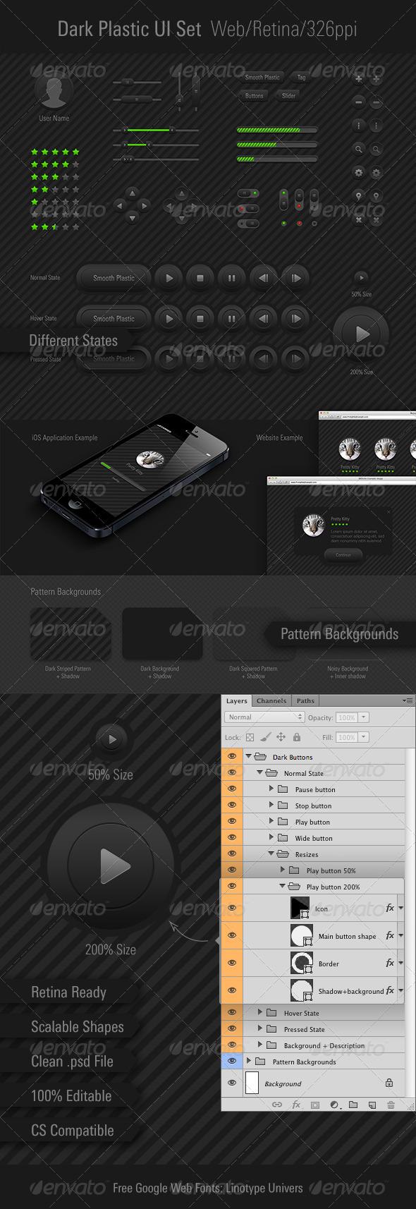 Dark Plastic UI Set Retina/Web/326ppi - User Interfaces Web Elements