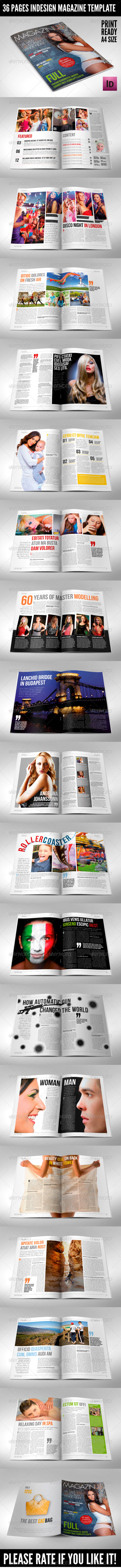 36 Pages Modern Magazine InDesign Template - Magazines Print Templates