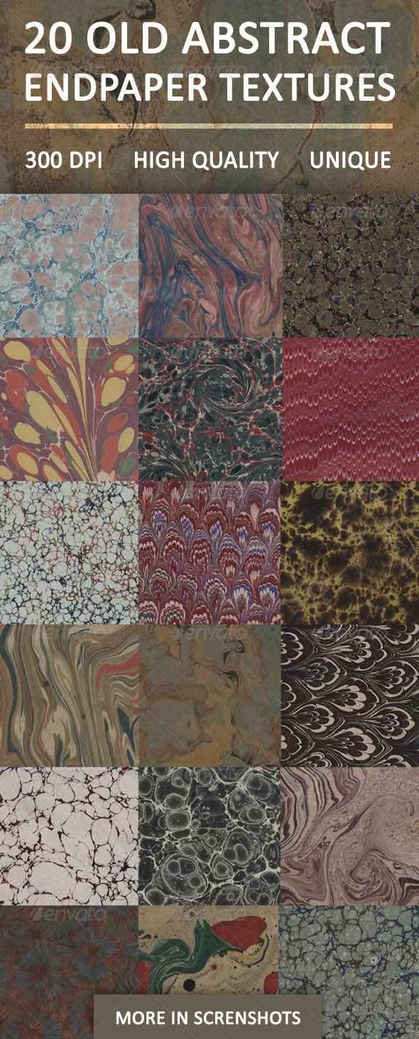 20 Old Abstract Endpaper Textures - Paper Textures