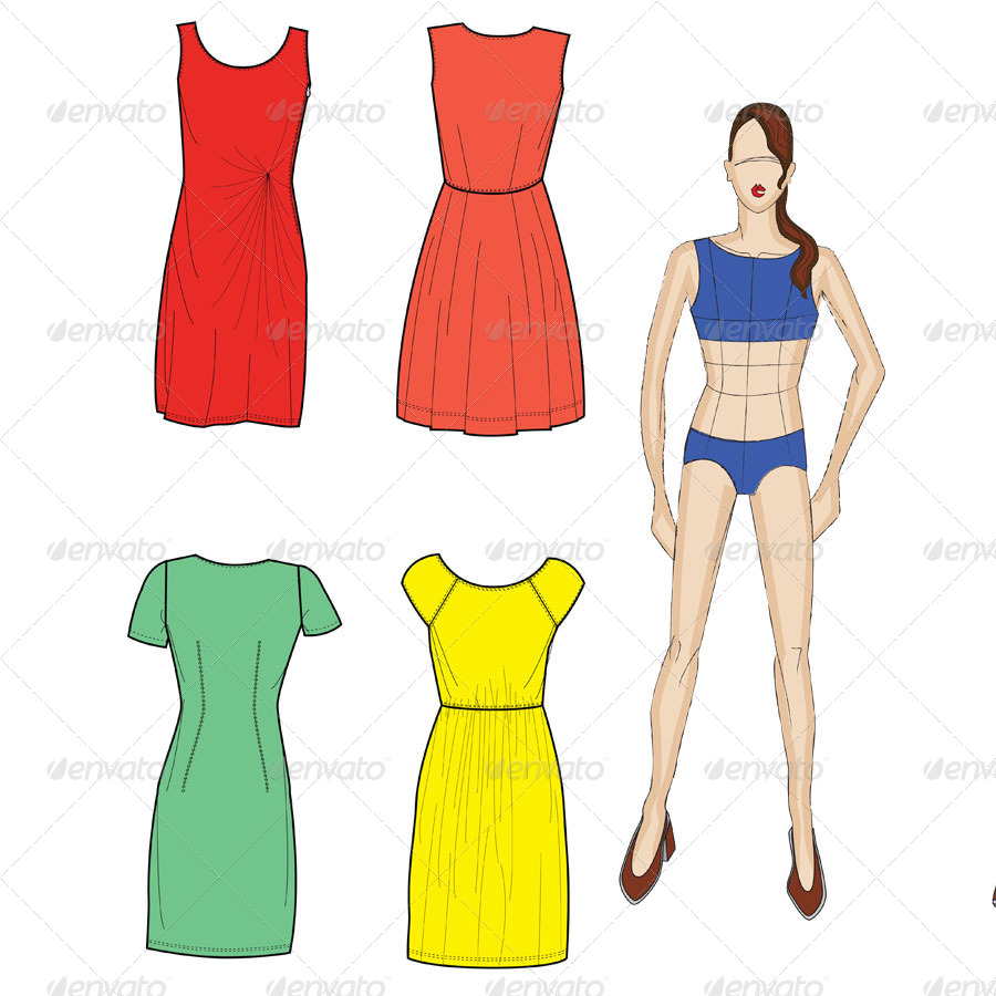 Fashion Croquis and Fit Model in Day Dresses