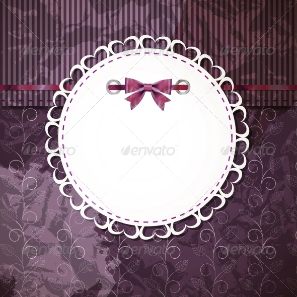 vintage frame with bow vector illustration - Backgrounds Decorative