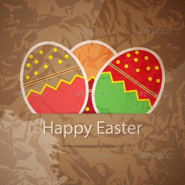 Easter eggs card with colourful eggs. vector illus - Backgrounds Decorative