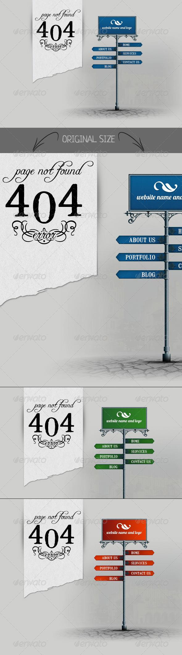 404 Signpost - 404 Pages Web Elements