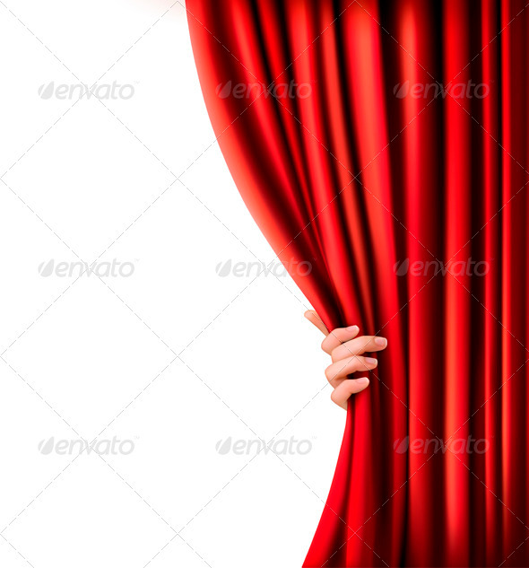 Background with Red Velvet Curtain and Hand - Decorative Vectors