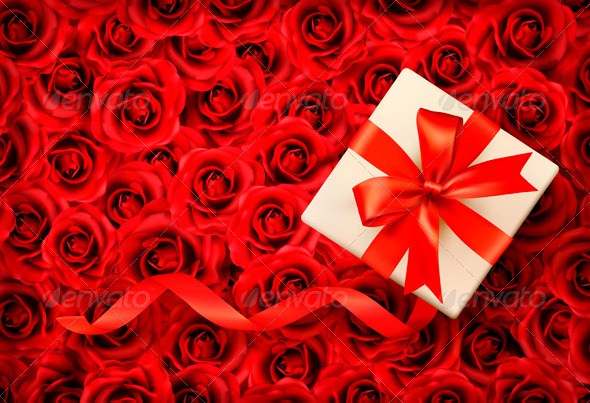 Holiday Background with Gift Box and Red Ribbon - Seasons/Holidays Conceptual