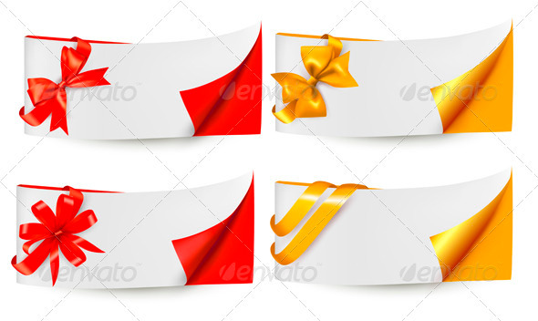 Holiday Banners with Gift Bows and Ribbons - Borders Decorative
