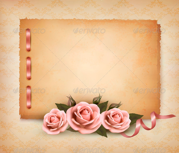 Retro Background with Beautiful Pink Roses  - Retro Technology