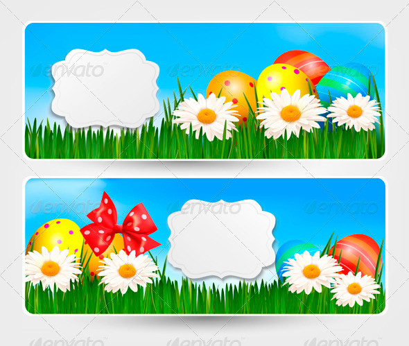 Easter Banners with Easter Eggs and Colour Flower - Seasons/Holidays Conceptual