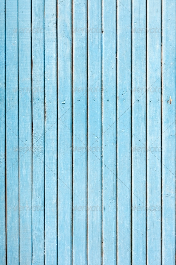 blue old painted wooden fence, naturally weathered - Wood Textures